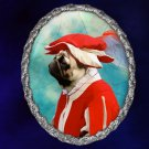 Pug Jewelry Brooch Handcrafted Ceramic - Red Soldier Silver Frame