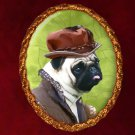 Pug Jewelry Brooch Handcrafted Ceramic - Young Duke