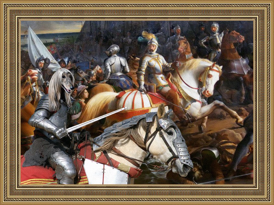 Afghan Hound Fine Art Canvas Print - The Swords and Brave