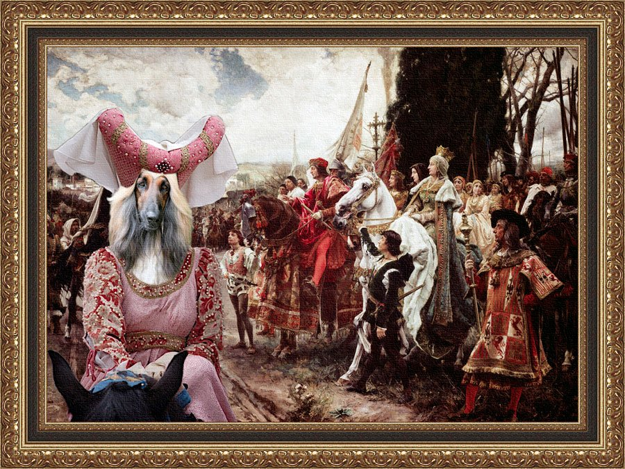 Afghan Hound Fine Art Canvas Print - The Reverance to the Queen