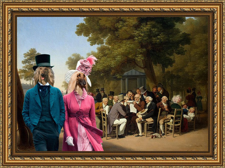 Afghan Hound Fine Art Canvas Print - Politicians in the Tuileries Gardens
