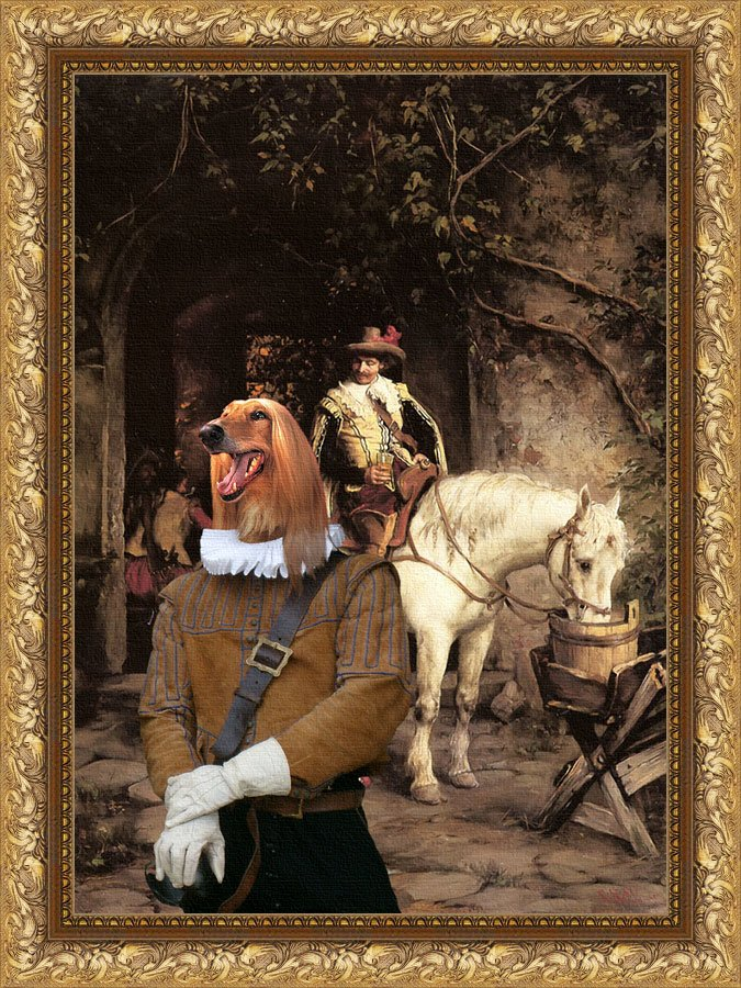Afghan Hound Fine Art Canvas Print - At the Tavern