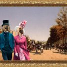 Afghan Hound Fine Art Canvas Print - View of the Champs Elysees