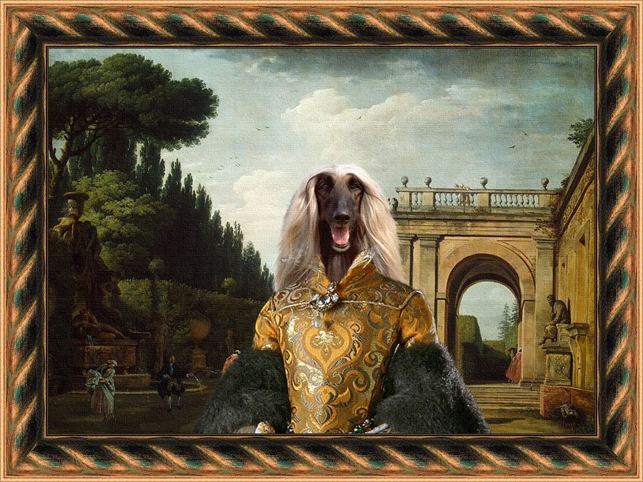Afghan Hound Fine Art Canvas Print - The afternoon promenade in Rome