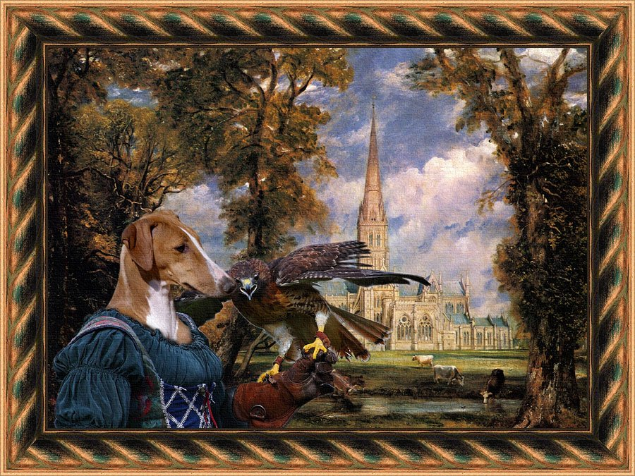 Azawakh Fine Art Canvas Print - Falconer Lady