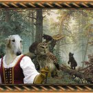 Borzoi Fine Art Canvas Print - Lady owl and young bears