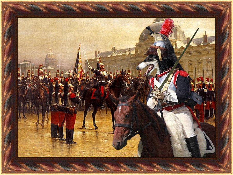 Borzoi Fine Art Canvas Print - Présentation de l'étendard aux recrues