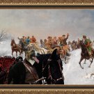 Borzoi Fine Art Canvas Print -  Winter landscape with cossak