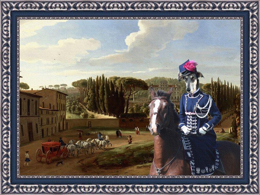 Chart Polski Fine Art Canvas Print - A view of the Villa Aldobrandini
