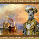 Scottish Deerhound Fine Art Canvas Print - Grey Pirate and his ship in the last fight