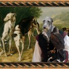 Scottish Deerhound Fine Art Canvas Print - Falconer with dogs