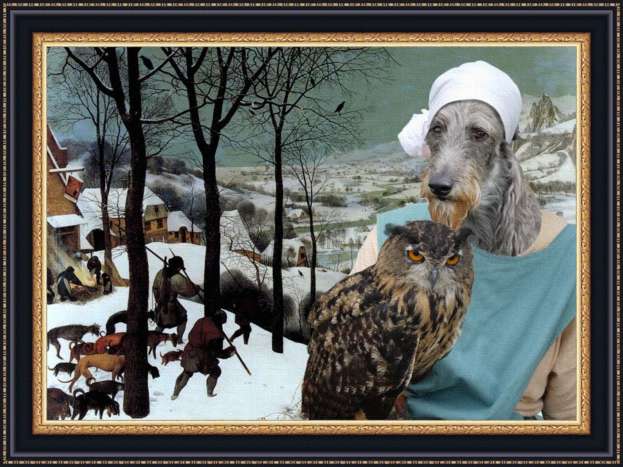 Scottish Deerhound Fine Art Canvas Print - Hunter in snow and Lady owl