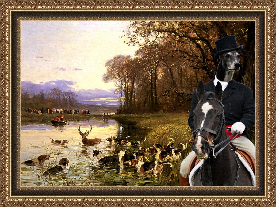 Greyhound Fine Art Canvas Print - A Stag At Bay