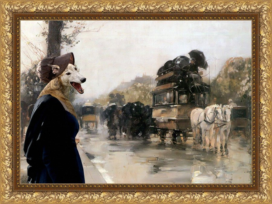 Greyhound Fine Art Canvas Print - Waiting carriage