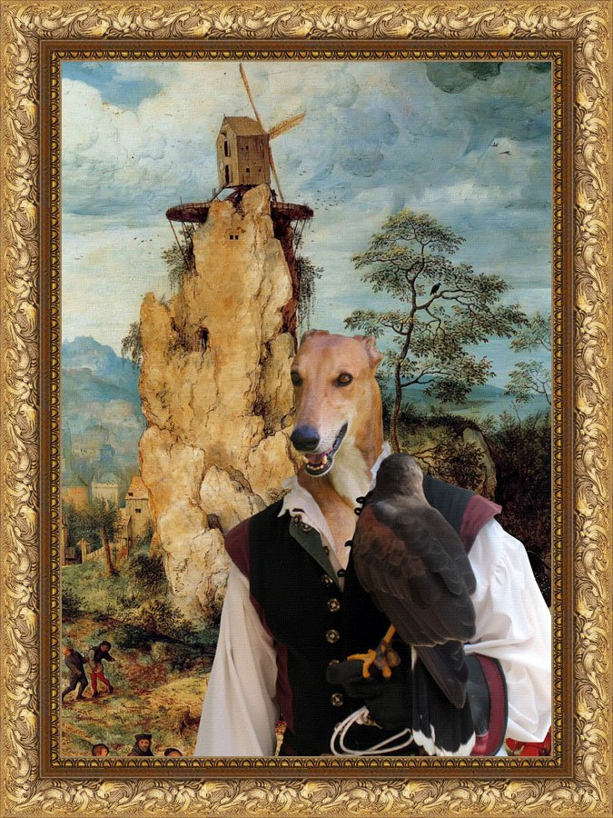 Greyhound Fine Art Canvas Print - Falconer and windmill