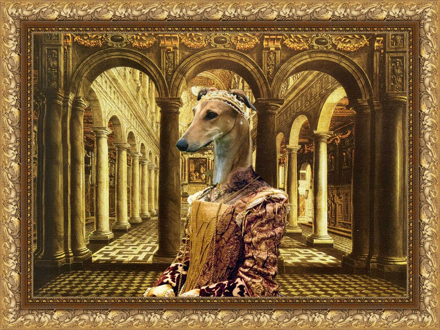Greyhound Fine Art Canvas Print - Queen in Palace