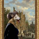 Greyhound Fine Art Canvas Print - Miss Jaine rushed to Love meeting