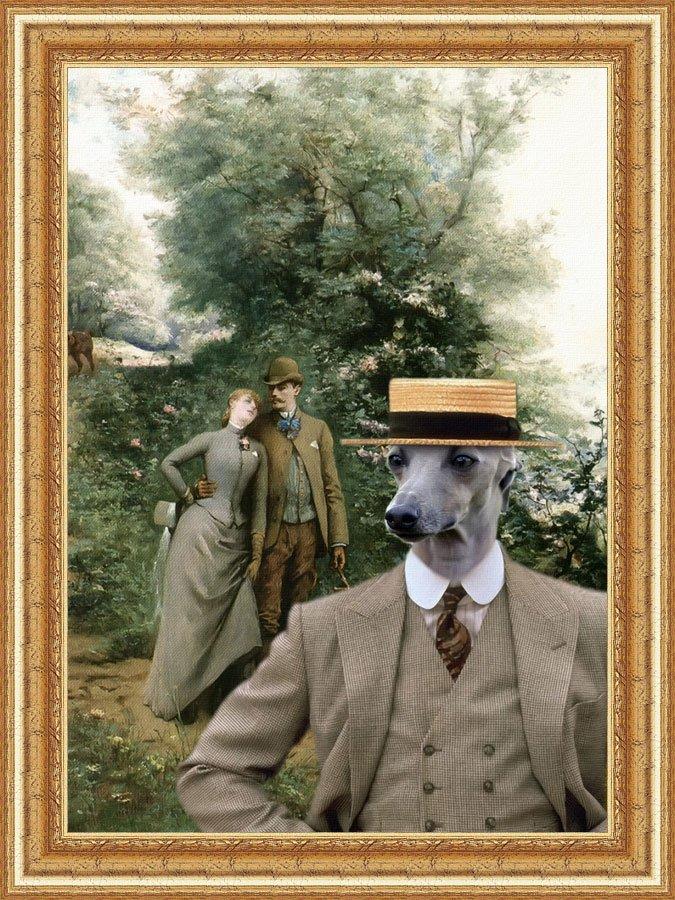Italian Greyhound Fine Art Canvas Print - An Afternoon Stroll