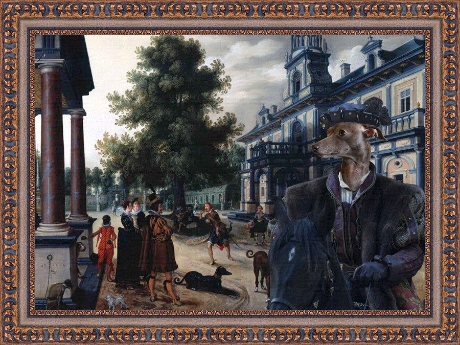 Italian Greyhound Fine Art Canvas Print -  Figures in a Palace Garden