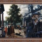 Italian Greyhound Fine Art Canvas Print -  Figures in a Palace Garden