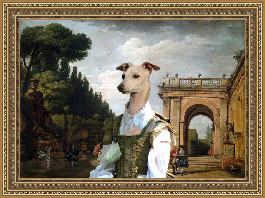 Italian Greyhound Fine Art Canvas Print - The afternoon promenade in Rome