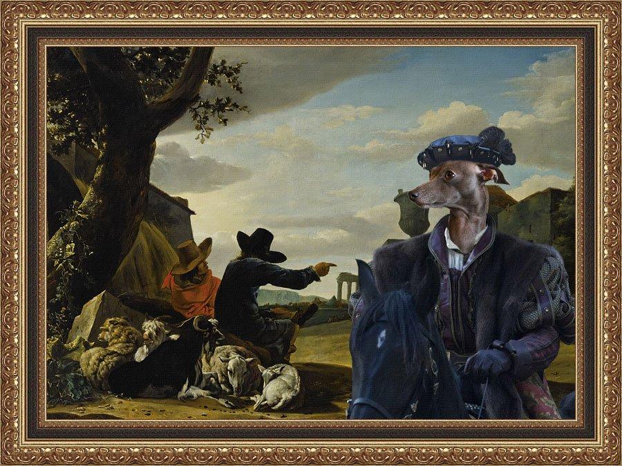 Italian Greyhound Fine Art Canvas Print - Pastors and Black Duke
