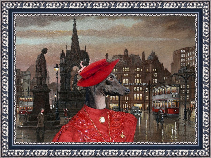 Italian Greyhound Fine Art Canvas Print - Offended red Lady in the square