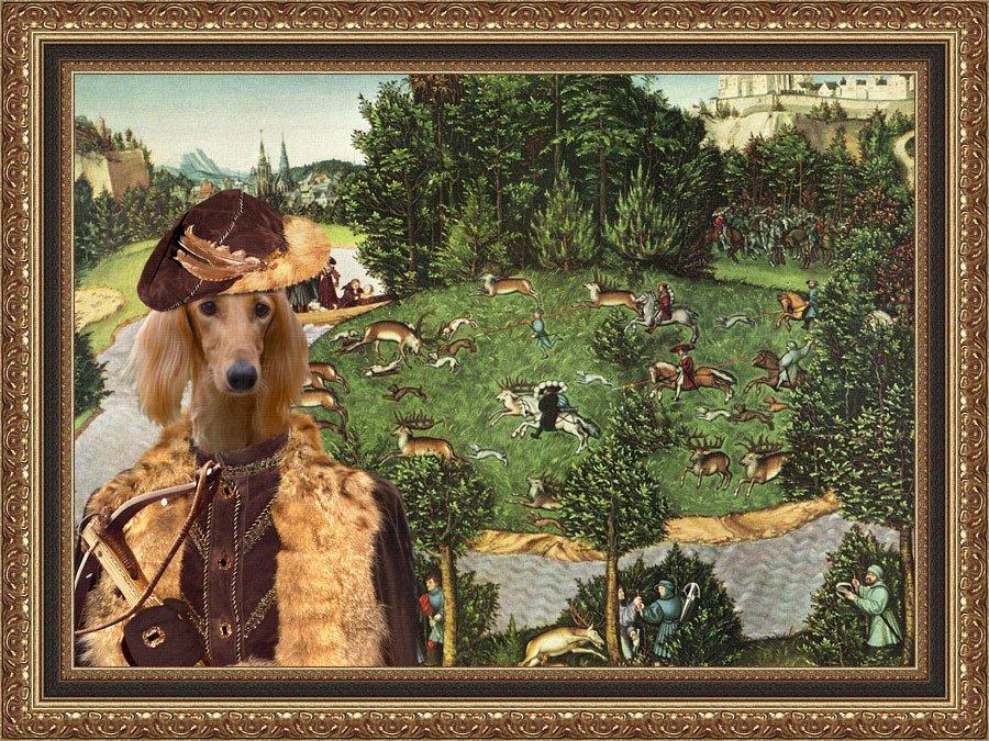Saluki Fine Art Canvas Print - Deer's Hunt