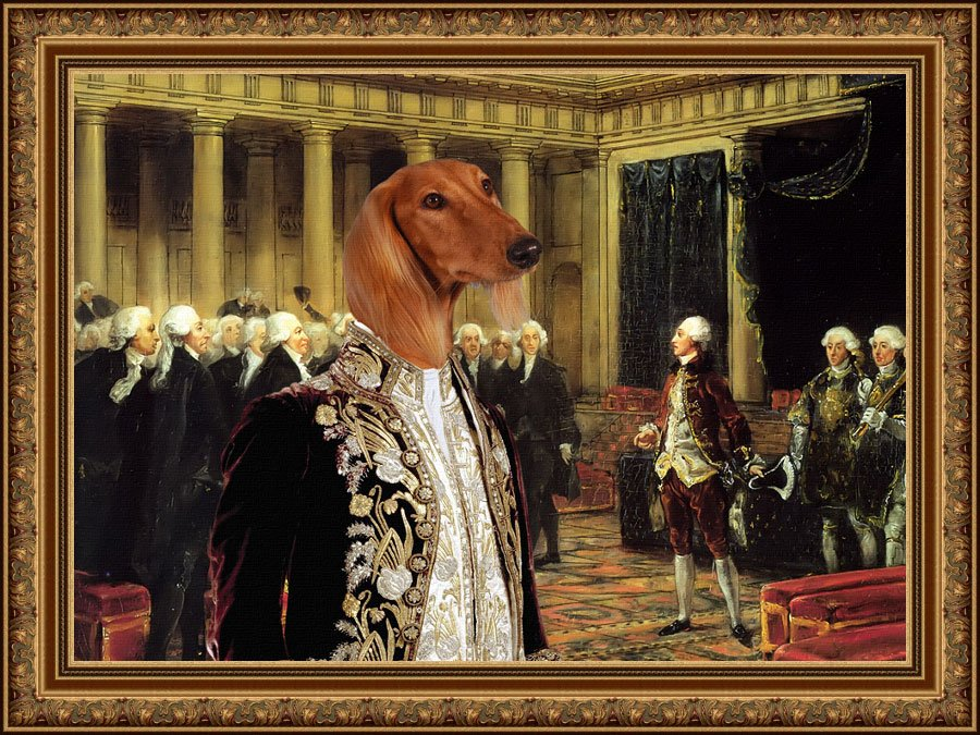 Saluki Fine Art Canvas Print - Dissatisfaction with the Ministers in Parliament