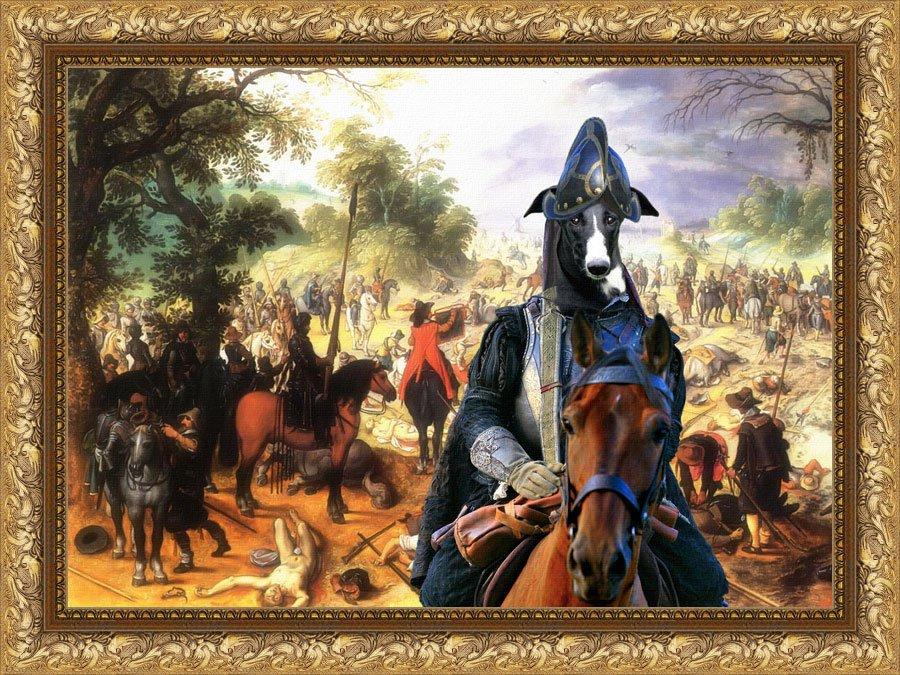Spanish Greyhound Fine Art Canvas Print - The fight of the Cavalery
