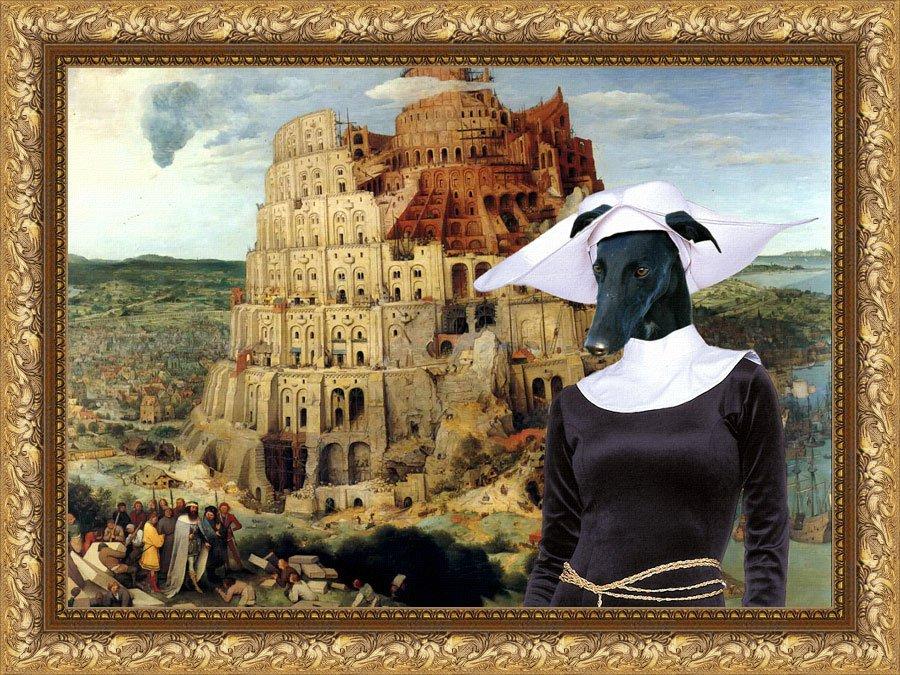 Spanish Greyhound Fine Art Canvas Print - The Tower of Babel