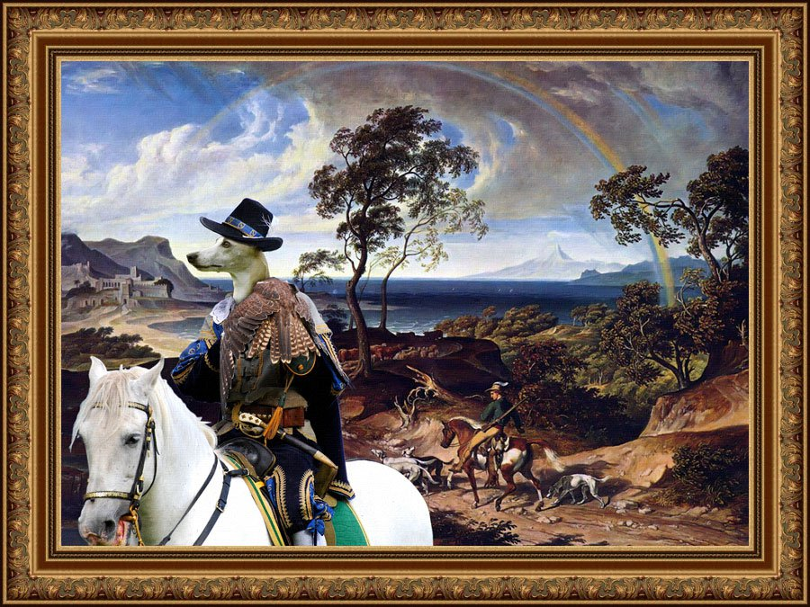 Whippet Fine Art Canvas Print - The Hunters return Home