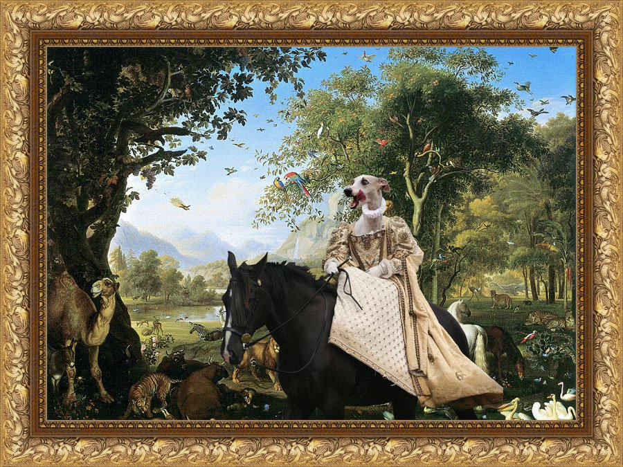 Whippet Fine Art Canvas Print - Queen in Paradise