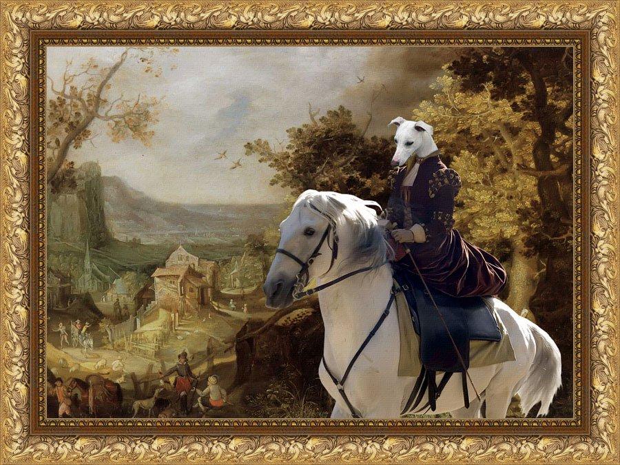 Whippet Fine Art Canvas Print - Horseback riding through the Village Passage