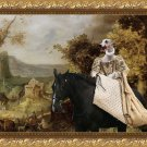 Whippet Fine Art Canvas Print - The Rural Road and horseride Lady