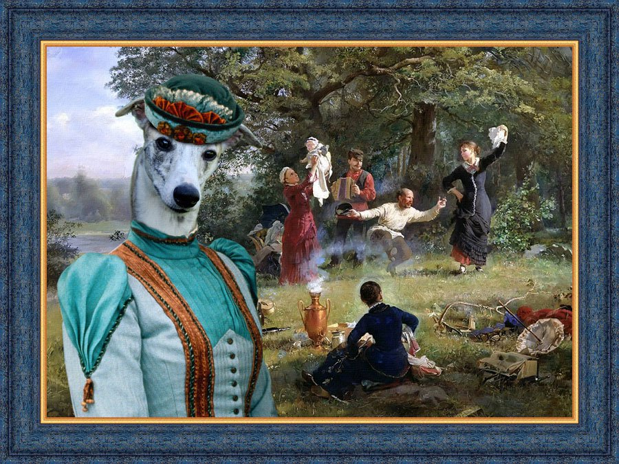 Whippet Fine Art Canvas Print - Happy Summer