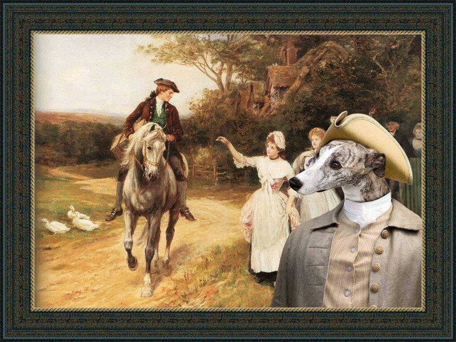 Whippet Fine Art Canvas Print - Leaving Home