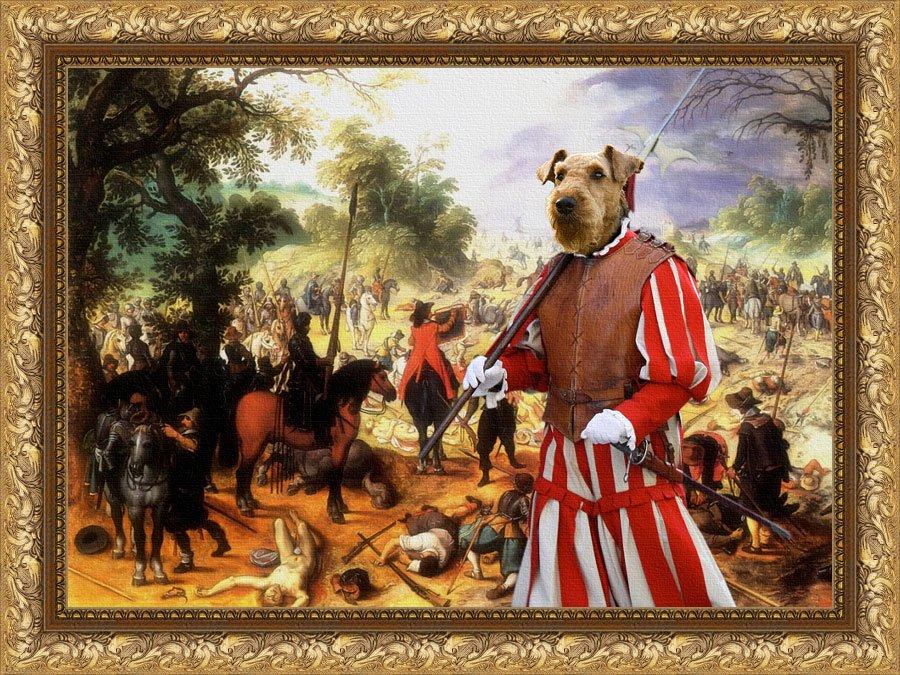 Airedale Terrier Fine Art Canvas Print - The affair cavaliers