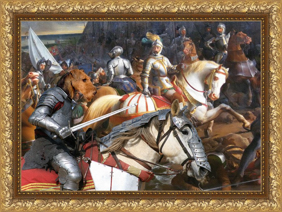 Airedale Terrier Fine Art Canvas Print - Swords and glory
