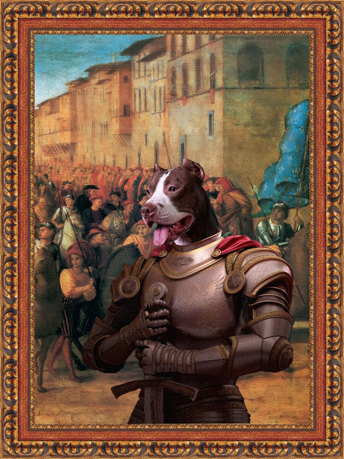 American Staffordshire Terrier Fine Art Canvas Print -  Coming Charles VIII to Florence