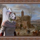 American Staffordshire Terrier Fine Art Canvas Print -   A winter landscape with figures