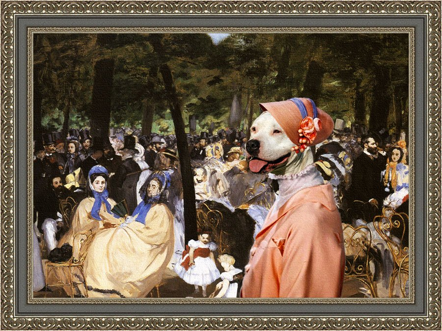 American Staffordshire Terrier Fine Art Canvas Print - Music with Tuileries