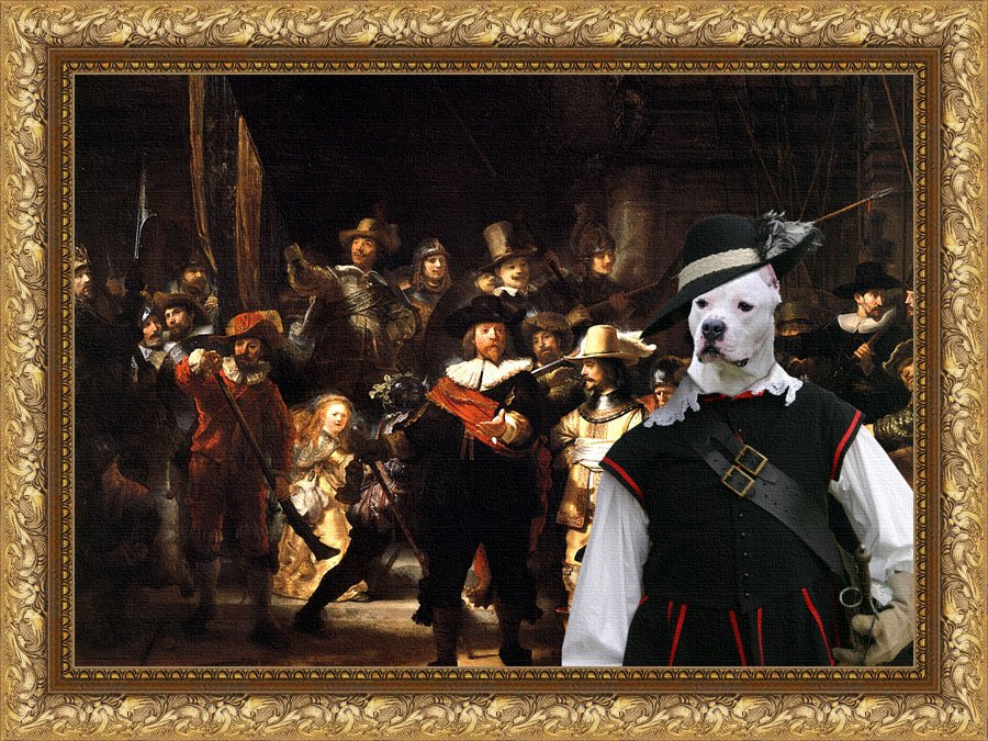 American Staffordshire Terrier Fine Art Canvas Print - The Round of Night
