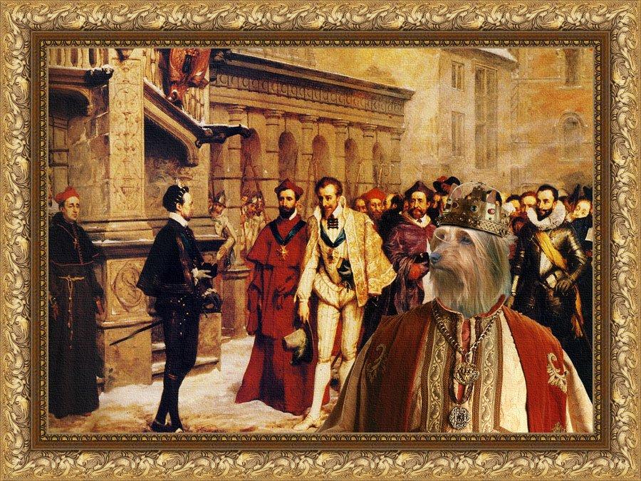 Silky Terrier Fine Art Canvas Print - Humiliation du roi