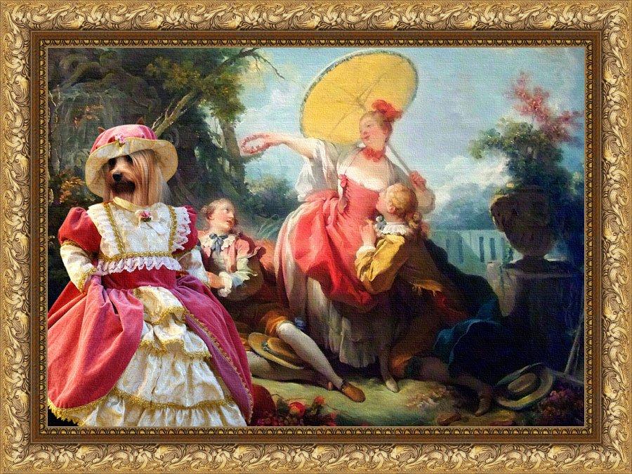 Silky Terrier Fine Art Canvas Print - Ladies And Gentleman