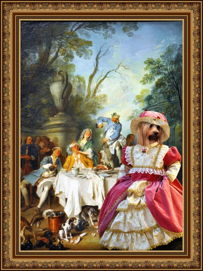 Silky Terrier Fine Art Canvas Print -  The garden party