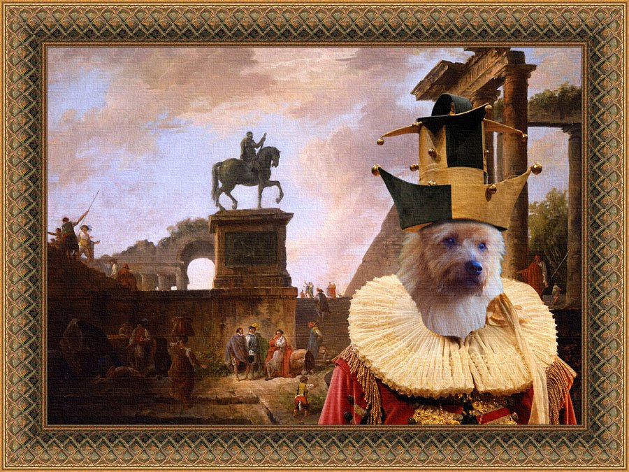 Australian Terrier Fine Art Canvas Print - A capriccio with troubadours