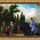 Australian Terrier Fine Art Canvas Print -  Landscape with Elegant Figures