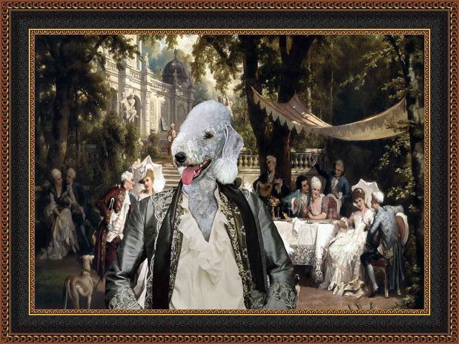Bedlington Terrier Fine Art Canvas Print - The Garden Party