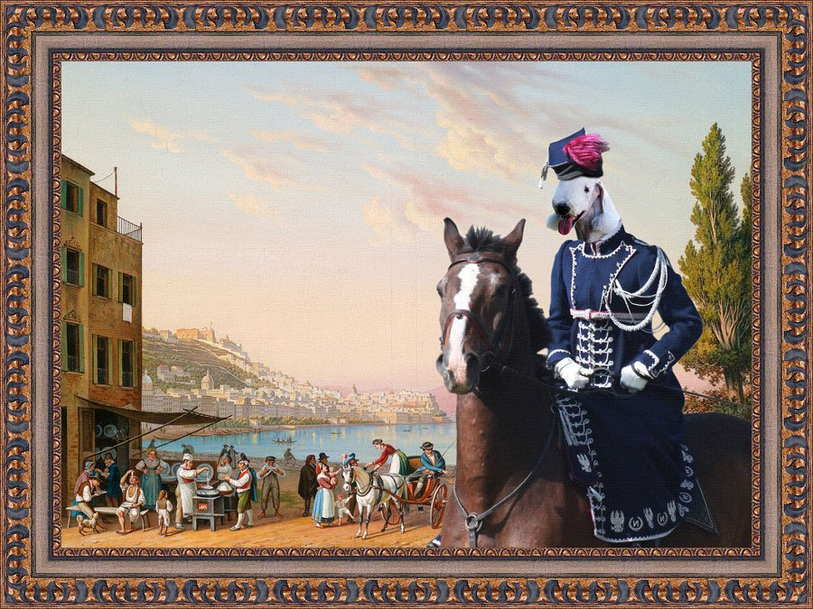 Bedlington Terrier Fine Art Canvas Print - View a bay
